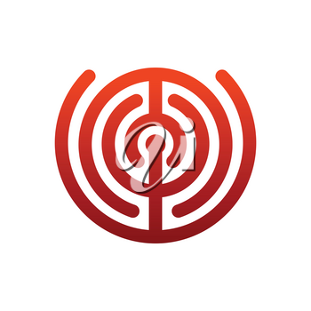 Labyrinth logo. maze emblem for company. Business template sign