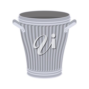 Trash can open isolated. Wheelie bin on white background. Dumpster iron