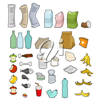 Rubbish icon collection. Garbage set. trash sign. litter symbol. peel from banana and stub. Tin and old newspaper. Bone and packaging. Crumpled paper and plastic bottle