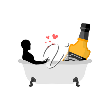 Lover alcohol drink. Man and bottle of whiskey in bath. Joint bathing. Romantic date. Alcoholic Lifestyle