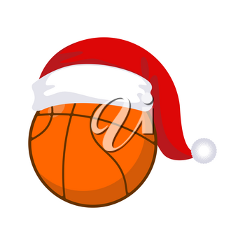 Basketball in cap Santa Claus. Sports New Year and Christmas