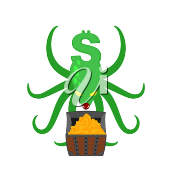 Monster Dollar protects chest of bitcoins. Money Octopus Vector Illustration