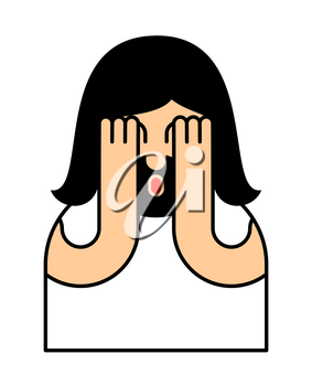 Oh my god Jesus emotion. OMG Christos Emoji. exclamation is shocked. Surprised with news sticker. Religion is person of facial expressions, emotions and feelings
