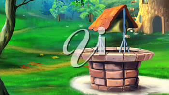 Digital painting of the stone well in the meadow.