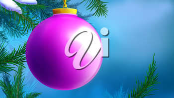 Lilac Christmas Ball over Blue Background with tree branches. Handmade illustration in a classic cartoon style.