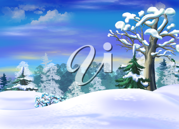Snowdrifts  in a Winter Forest Clearing. Handmade illustration in a classic cartoon style.