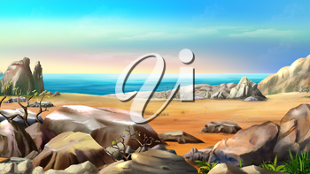 Rocky Shore Against Blue Sky in a Summer Day. Digital Painting Background, Illustration in cartoon style character.