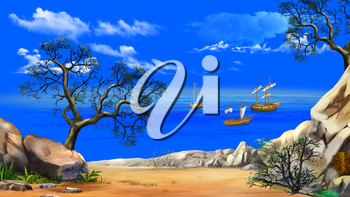 Idyllic View of the bay with sailboats or Fishing vessels. Shore of the ocean against a blue sky in a Summer day. Digital Painting Background, Illustration in cartoon style character.