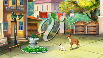 Big Yellow Dog Walks with puppy are walking in a courtyard in a summer day.  Digital painting  cartoon style full color illustration.