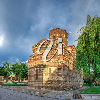 Nessebar, Bulgaria – 07.11.2019.  The Church of Christ Pantocrator in the old town of Nessebar, Bulgaria, on a cloudy summer morning