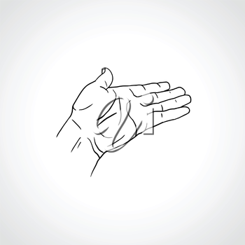 Open empty line art drawing hand Isolated on white background. Close up of human hand. Male hand with empty place for holding something. Open palm hand gesture of male hand. Outline drawing