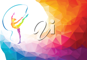 Creative silhouette of gymnastic girl. Art gymnastics with ribbon, colorful vector illustration with background or banner template in trendy abstract colorful polygon style and rainbow back