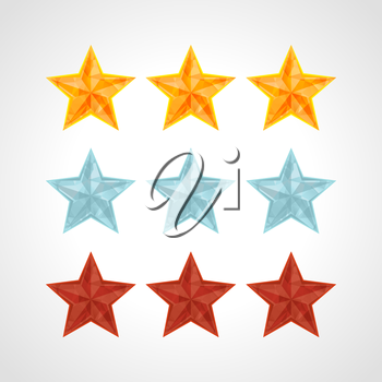 Star Rating Template Vector IN POLYGONAL style