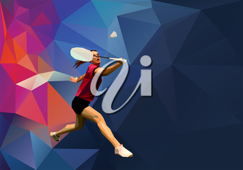 Unusual colorful triangle background. Geometric polygonal professional female badminton player on blue back