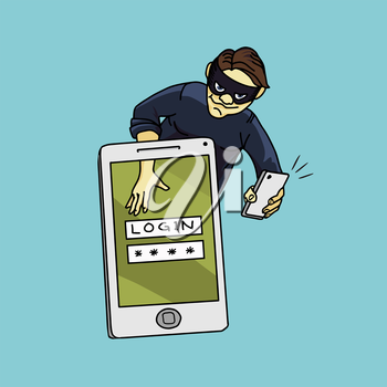 Social network hacker stealing password from smartphone screen, criminal on smart phone. Vector illustration