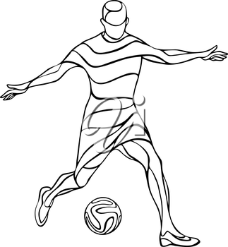 Football or soccer player black and white silhouette with ball isolated. Vector illustration