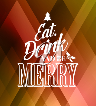 Merry christmas typography poster with christmas tree
