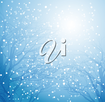 Vector illustration  Winter tree and snow