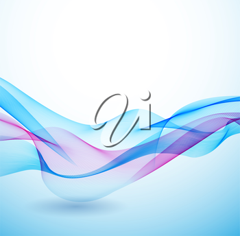 Abstract colorful vector background with blue transparent wave