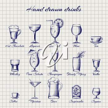 Set of popular drinks vector. Hand drawn alcoholic and non-alcoholic drinks on notebook page