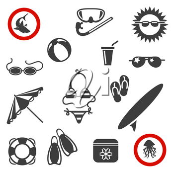 Beach black icons. Summer beach vector icons on white background