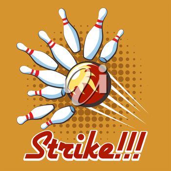 Bowling strike retro poster. Pop art bowling strike label, Vector illustration