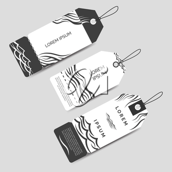 Monochromic label tags template set vector with waves