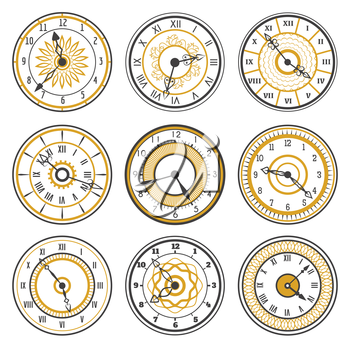 Vector watch face collection on white background
