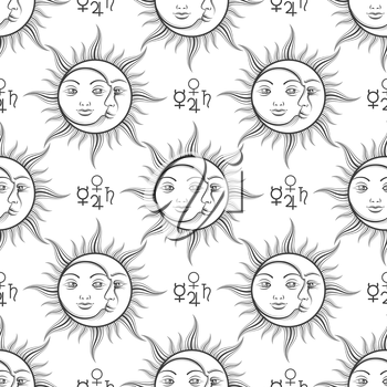 Mystical seamless pattern with alchemy elements and sun and moon. Vector illustration