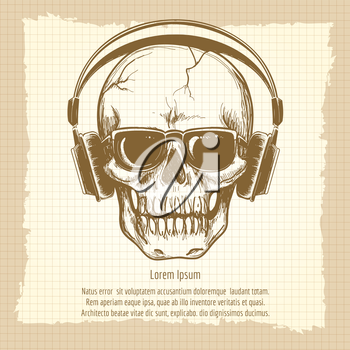 Drawing skull sketch with headphones vintage vector illustration