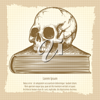 Sketch of human skull on book vector. Esoteric concept on vintage background