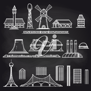 Country city and industrial objects on chalkboard background vector