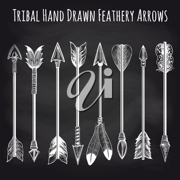 Hand drawn feathery arrows collection on chalkboard background. Vector illustration