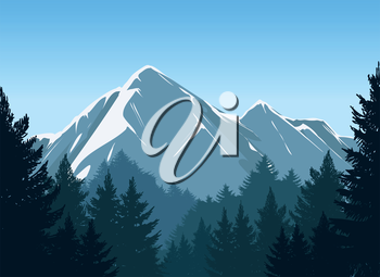 Mountains with pine forest and blue sky vector background