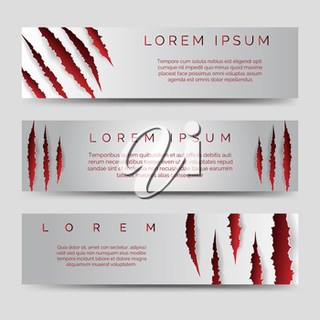Horizontal banners template with red scratches. Vector illustration
