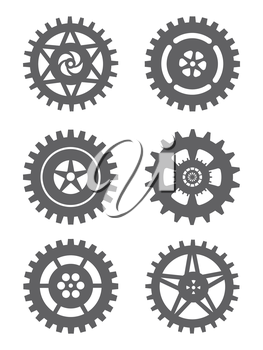 Gears icon set isolated on white background. Vector illustration