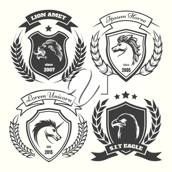 Medieval heraldry coat of arm set with wreaths, shields and stars. Coats of arms with unicorn and horse, lion and eagle vector illustration
