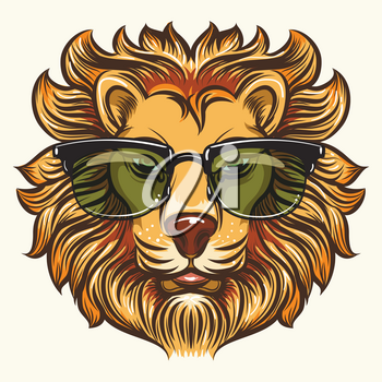 Hand drawn fashion lion in glasses or sunglasses in cartoon style vector illustration