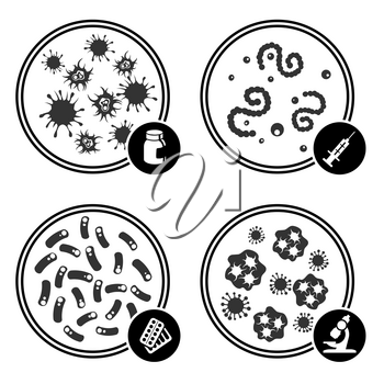 Icons virus in Petri dish, microscope and syringe. Vector illustration