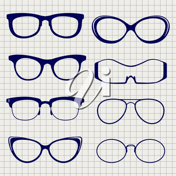 Ballpoint pen color eyeglasses collection on notebook page. Vector illustration