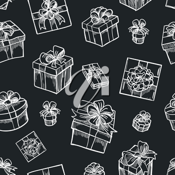 Vector hand drawn gift box seamless pattern. Sketch christmas gifts black background for present design