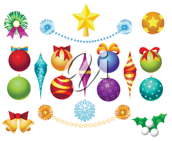 Xmas tree toys set isolated on white background. Christmas ornaments decoration balls and garlands, bells and bows vector illustration