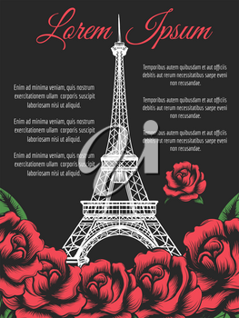 Paris poster design with Eiffel Tower and roses on black backdrop. Vector illustration