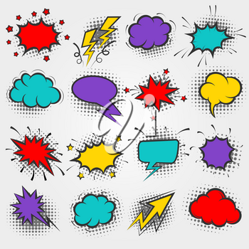 Pop art comic bubbles. Vector cartoon speech banner elements or comic text frames