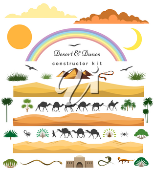 Desert game set. Vector cartoon desert scenery constructor kit with dunes and mountains, camels and cacti for games landscape