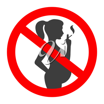 Pregnant no smoking sign. Pregnant woman black silhouette with cigarette vector warning symbol, smoke baby damage pictogram in red circle