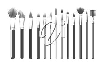 Makeup brushes hand drawing. Professional makeuping equipments kit sketch vector illustration