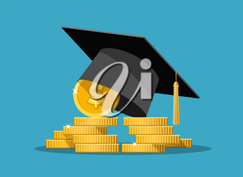 Education grant. Expensive education, school and money, wealth and tuition, finance fee and study vector concept isolated, graduation college loan payment icon