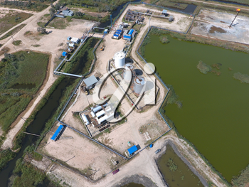 Top view of the equipment for oil separation. Equipment for the drying gas and condensate collection. Oilfield equipment.