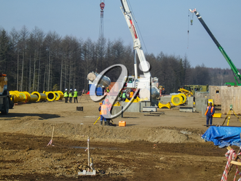 RUSSIA, SURGUT,  NOVEMBER 11, 2008: Construction of an oil and gas pipeline Industrial equipment